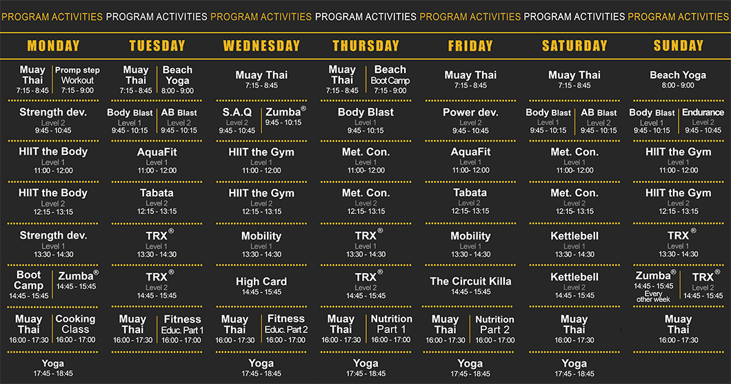 PhuketFit Activity Schedule and Classes